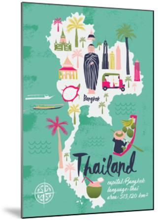 Cartoon Map of Thailand. Print Design by Lavandaart