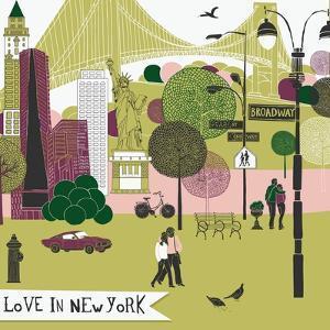 Colorful Illustration of New York Landmarks by Lavandaart