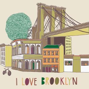 I Love Brooklyn Print Design by Lavandaart
