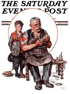 """""""Cobbler and Holey Shoe,"""" Saturday Evening Post Cover, January 30, 1926 by Lawrence Toney"""