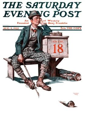 """""""Eighteenth Hole,"""" Saturday Evening Post Cover, August 8, 1925 by Lawrence Toney"""
