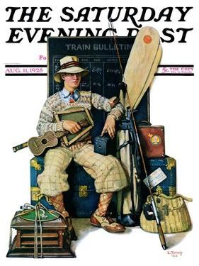 """""""Going Home from Camp,"""" Saturday Evening Post Cover, August 11, 1928 by Lawrence Toney"""