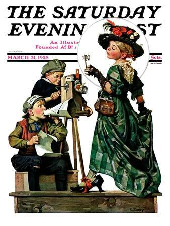 """""""Lights, Action, Camera,"""" Saturday Evening Post Cover, March 31, 1928"""