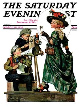 """""""Lights, Action, Camera,"""" Saturday Evening Post Cover, March 31, 1928 by Lawrence Toney"""