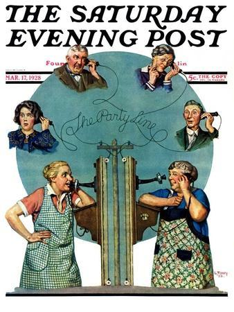 """""""Party Line,"""" Saturday Evening Post Cover, March 17, 1928"""