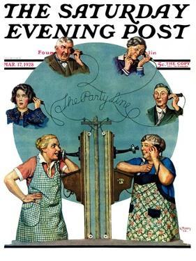"""""""Party Line,"""" Saturday Evening Post Cover, March 17, 1928 by Lawrence Toney"""