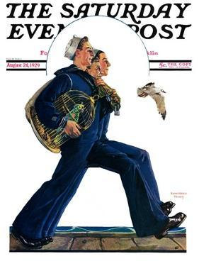 """""""Sailors on Leave,"""" Saturday Evening Post Cover, August 24, 1929 by Lawrence Toney"""