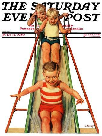 """""""Sliding into Water,"""" Saturday Evening Post Cover, July 12, 1930"""