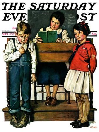 """""""Spelling Bee,"""" Saturday Evening Post Cover, September 10, 1927"""