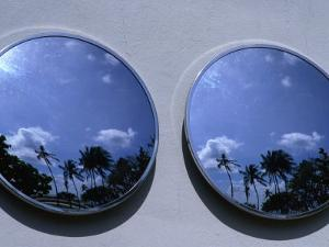 A Mirrored View of Palms in the South Beach Art-Deco District, Miami, Florida, USA by Lawrence Worcester