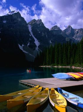 Canoeing on Moraine Lake, Banff National Park, Alberta, Canada by Lawrence Worcester