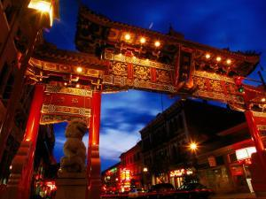 Chinatown Main Gate at Night, Victoria, Canada by Lawrence Worcester