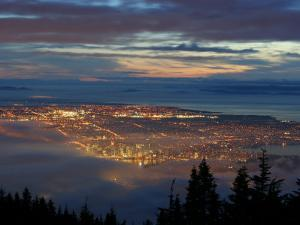 City from Grouse Mountain at Sunset, North Vancouver, Vancouver, Canada by Lawrence Worcester