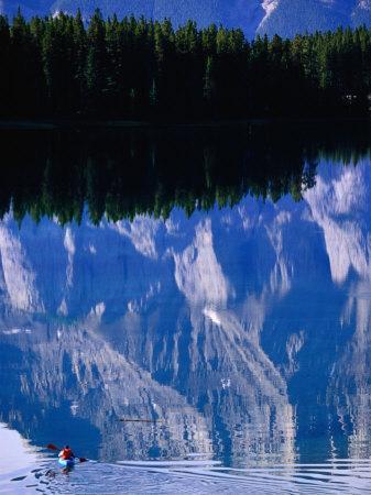 Kayaking on Lake Minewanka, Banff National Park, Alberta, Canada