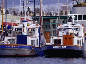 Lake Union Boats at Dock, Seattle, Washington, USA by Lawrence Worcester