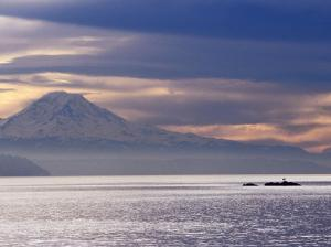 Mt. Rainier from a Ferry on the Seattle to Bainbridge Island Run, Seattle, Washington, USA by Lawrence Worcester