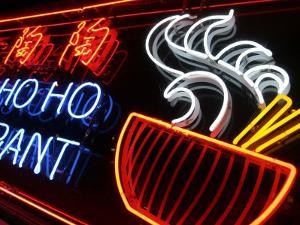 Neon Sign at Foo's Ho Ho Restaurant, Chinatown, Vancouver, Canada by Lawrence Worcester