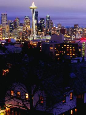 Night View of Downtown and the Space Needle, Seattle, Washington, USA by Lawrence Worcester
