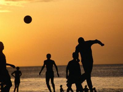 Soccer Game on Beach at Sunset, Zanzibar Town, Zanzibar Island, Zanzibar West, Tanzania