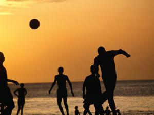 Soccer Game on Beach at Sunset, Zanzibar Town, Zanzibar Island, Zanzibar West, Tanzania by Lawrence Worcester