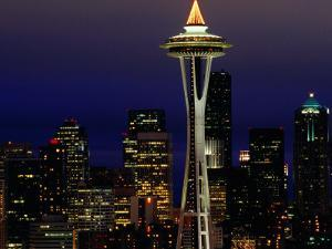 Space Needle at Night, Seattle, Washington, USA by Lawrence Worcester