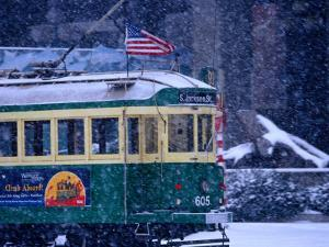 Tram in Snow on Alaskan Way, Seattle, Washington, USA by Lawrence Worcester