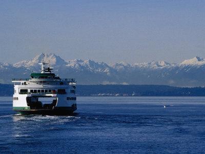 Wa State Ferry Nearing Colman, Seattle, Washington, USA