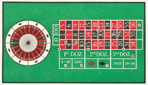 Layout of Roulette Table