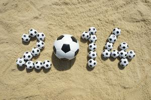 Brazil 2014 Soccer Football World Cup Message on Sand by LazyLlama