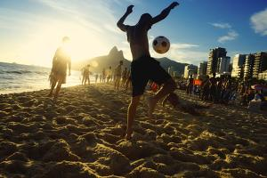 Carioca Brazilians Playing Altinho Futebol Beach Football Kicking Soccer Balls at Sunset Ipanema Be by LazyLlama