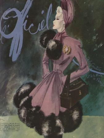 L'Officiel, December 1942 - Ensemble Nina Riccibijou Van Cleef et Arpelssac André Dallioux by Lbenigni