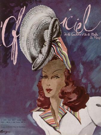 L'Officiel, May-June 1945 - Chapeau de Coralie -Tissu de René Véron