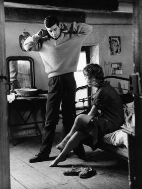 Le beau Serge by ClaudeChabrol with Jean Claude Brialy and Bernadette Lafont, 1958 (b/w photo)