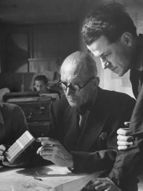 Le Corbusier and Student Working on Project for French Ministry of Reconstruction