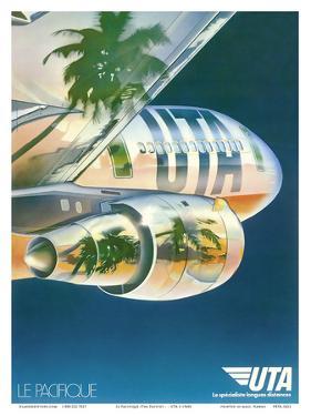 Le Pacifique (The Pacific) - Palm Trees Reflected on Plane - UTA (Union des Transports Aériens)