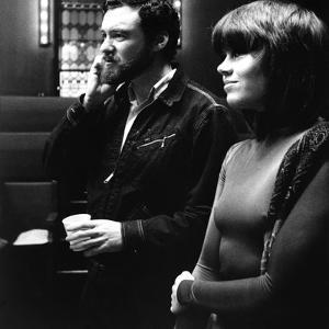Le realisateur Alan Pakula and Jane Fonda sur le tournage du film Klute en, 1971 (b/w photo)