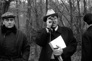 Le realisateur Jean-Pierrre Melville sur le tournage du film Le Cercle Rouge, 1970 (b/w photo)