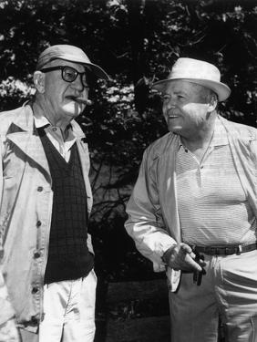 Le realisateur John Ford and Henry Hathaway sur le tournage du film La conquete by l' ouest How the