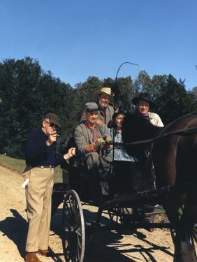 Le realisateur John Ford and John Wayne sur le tournage du film Les Cavaliers THE HORSE SOLDIERS, 1