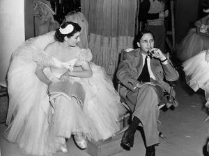 Le realisateur Mervin Leroy and Vivien Leigh sur le tournage du film La Valse dans l'ombre WATERLOO