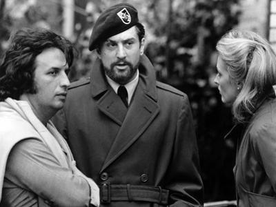 Le realisateur Michael Cimino,Robert by Niro and Meryl Streep sur le tournage du film Voyage au bou