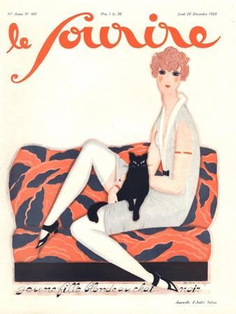 Le Sourire, Glamour Art Deco Pets Cats Womens Magazine, France, 1928