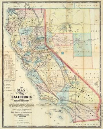 New Map of The State of California and Nevada Territory, c.1863 by Leander Ransom
