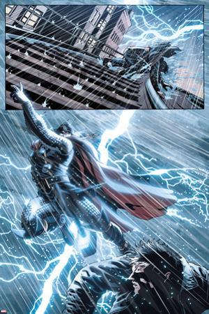 New Mutants No.25: Thor Flying in a Lightning Storm by Leandro Fernandez