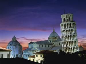 Leaning Tower, Duomo and Baptistery at Sunset in the City of Pisa, Tuscany, Italy