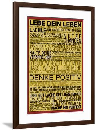 Lebe Dein Leben - This Is Your Life Motivational--Framed Art Print