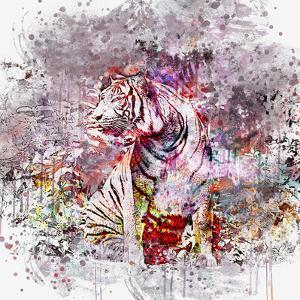 Crazy Tiger - Square by Lebens Art