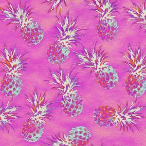 Pineapple Pink Pattern - Square by Lebens Art