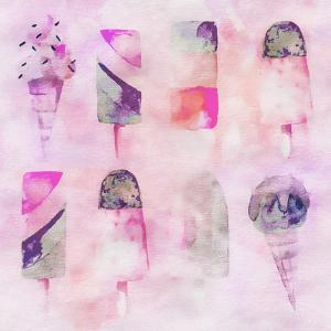 Popsicle Icecream Watercolor - Square 2 by Lebens Art