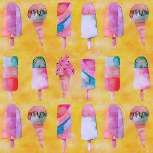 Popsicle Icecream Watercolor - Square by Lebens Art